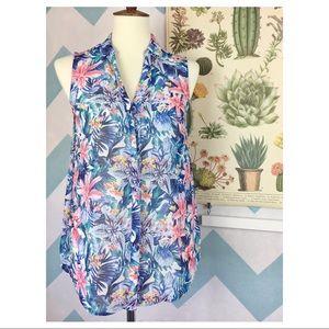 H&M Sheer Floral Sleeveless Blouse